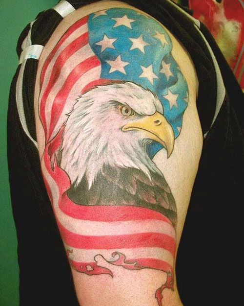 Eagle With American Flag Tattoo : eagle, american, tattoo, Traditional, Eagle, Tattoo