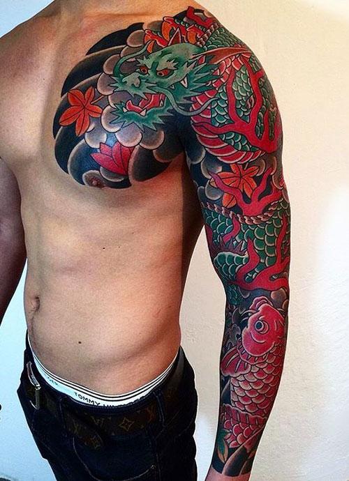 Japanese Dragon Tattoos Sleeves : japanese, dragon, tattoos, sleeves, Japanese, Tattoos, Designs,, Ideas, Meanings