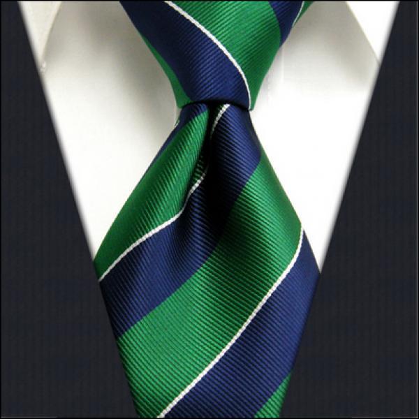 Blue Green Striped 100% Silk Necktie