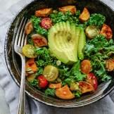 Kale, roasted yams and avocado salad
