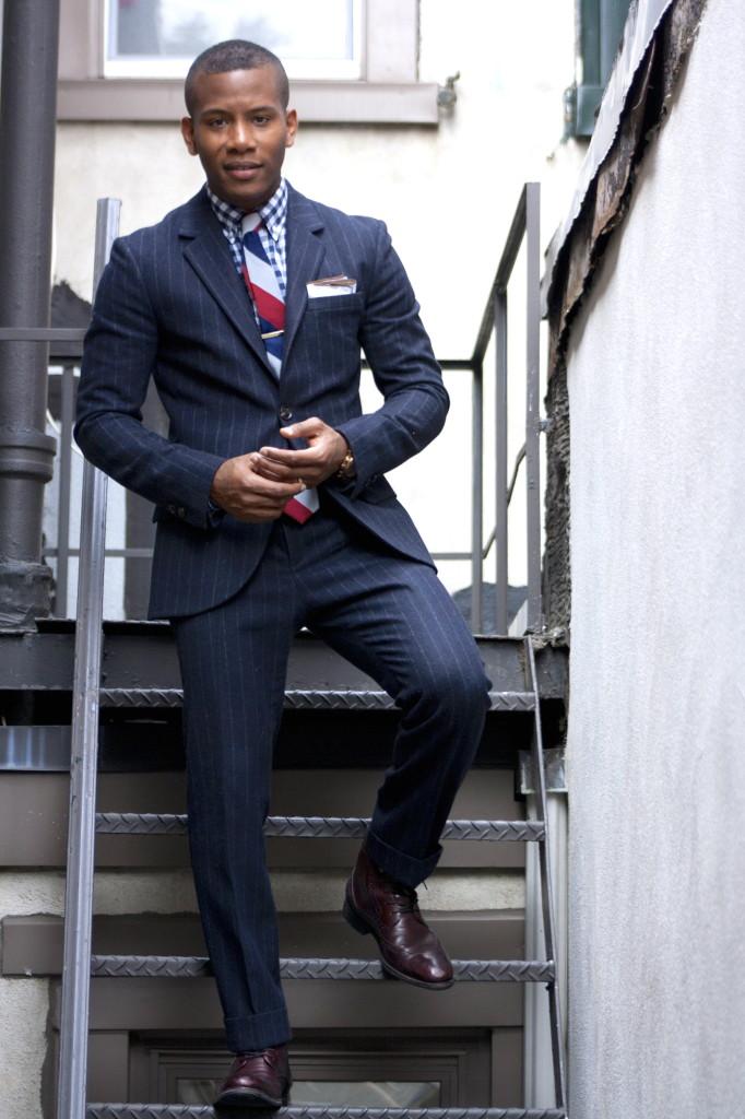Men's Style Pro in Jack Wills Darrock Chalk Stripe Suit & Johnston & Murphy Tyndall Wingtip Oxblood Boots