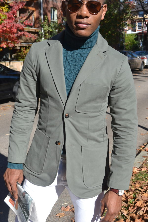 Die Proper Ready to Wear Brush Cotton Twill Moss Jacket by Commonwealth Proper
