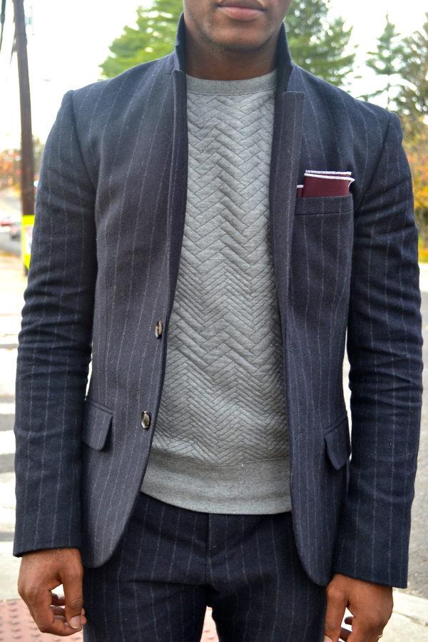 Sabir Peele in Chalk Strip Suit & Sweat Shirt Jack Wills Darrock Suit