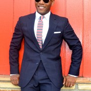 Brimble & Clark Navy Windowpane Suit