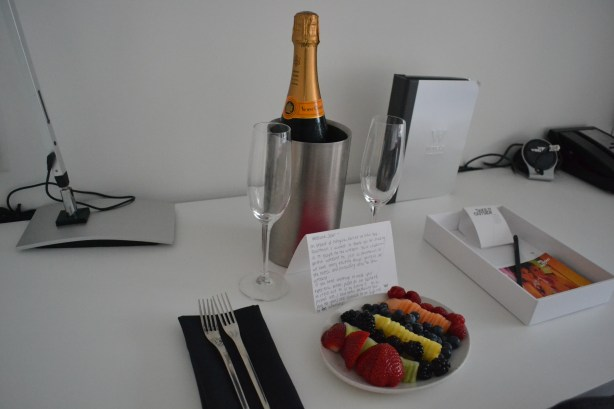 Greeting fruit & Veuve champagne at W Hotel NY Downtown