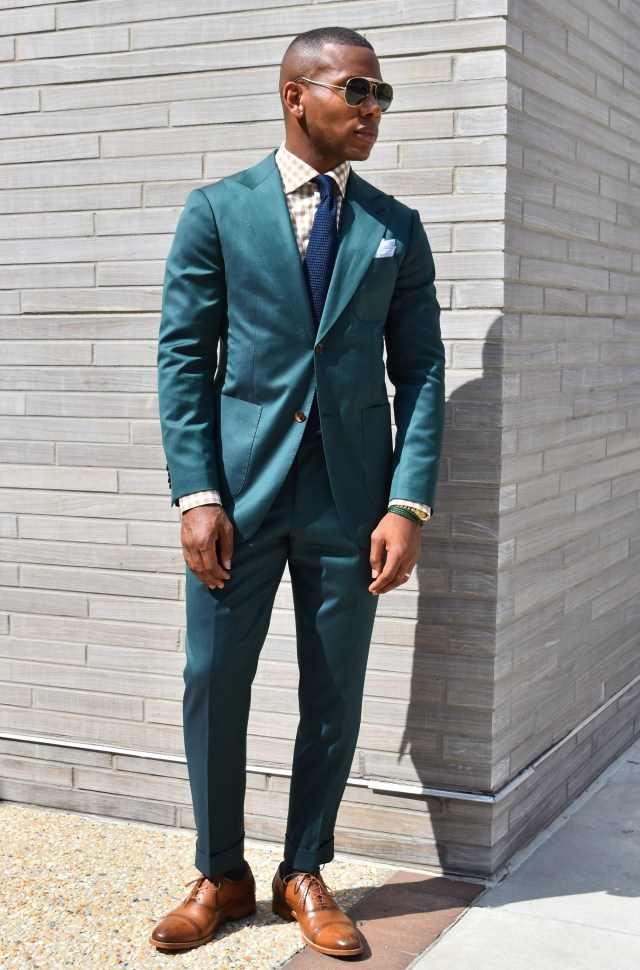 Sabir Of Men's Style Pro in Cates Cap Toe Shoe and Knot Standard Loro Piana Green Suit