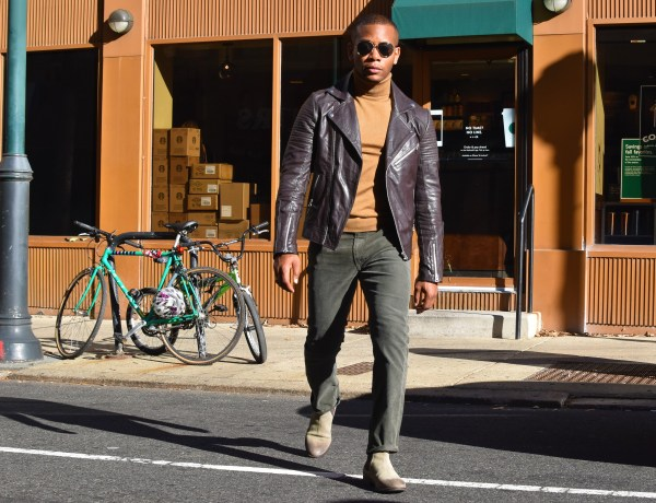 Sabir M. Peele Of Men's Style Pro In Asos Leather Moto Jacket