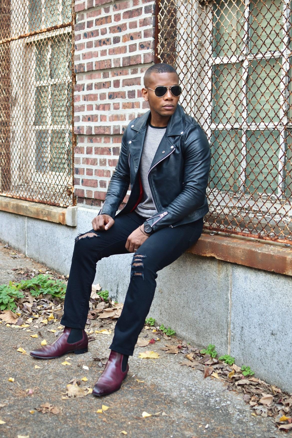Sabir M. Peele of Men's Style Pro in Topman Black Leather Jacket