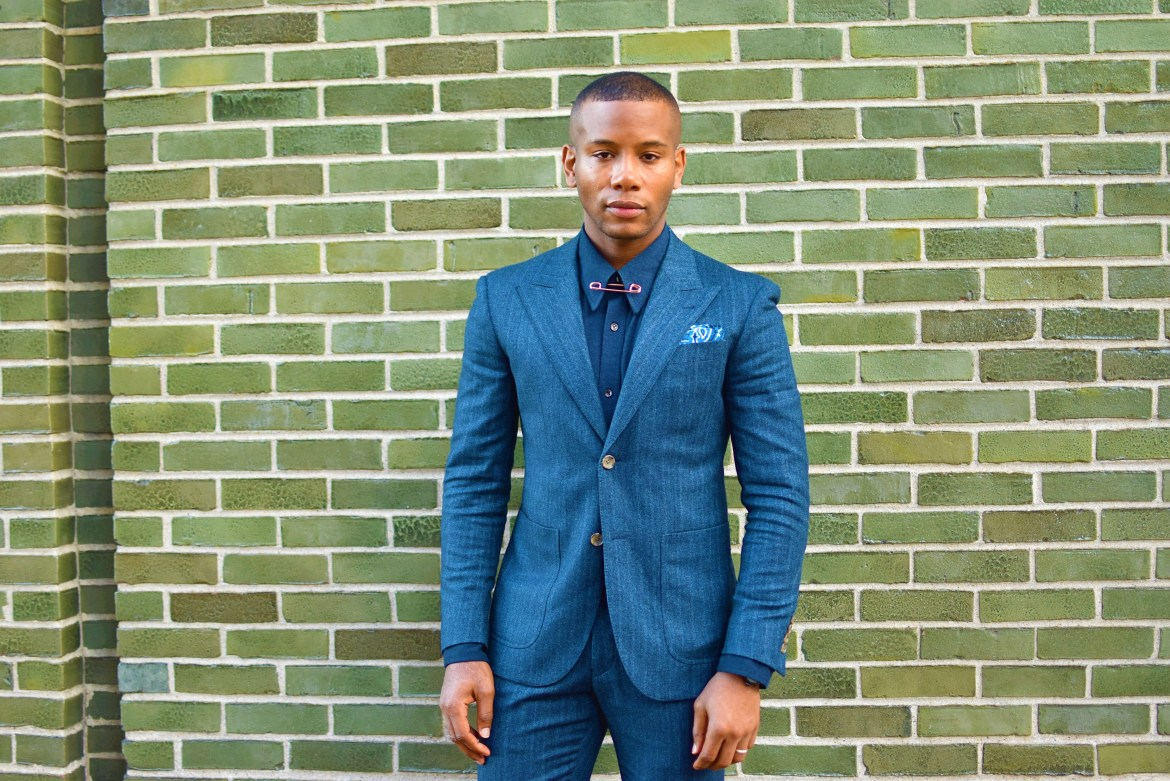 Sabir M. Peele of Men's Style Pro in Indochino Blue Flannel Herringbone Suit