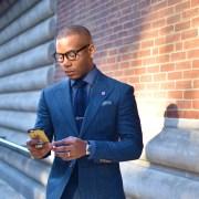 Sabir M. Peele of Men's Style Pro in Indochino Blue Flannel Herringbone Suit