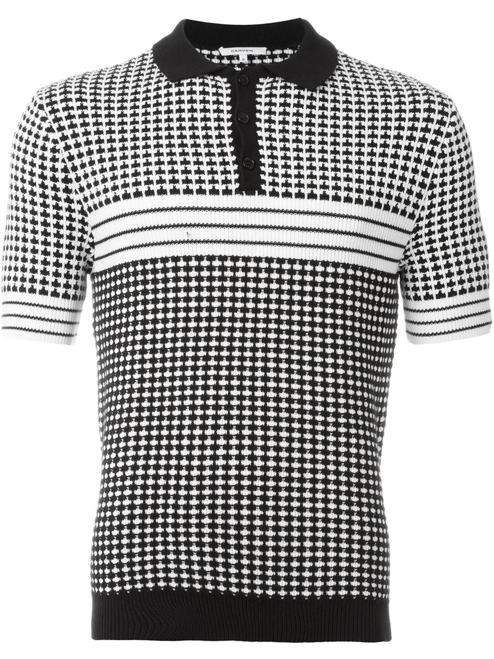 Carven houndstooth knitted polo shirt