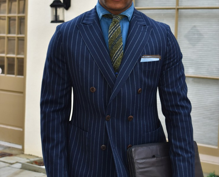 Sabir M. Peele of Men's Style Pro in Oliver Wicks Flannel Chalk Stripe Suit