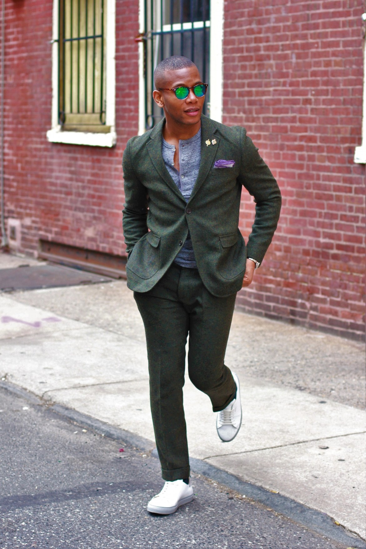 Sabir M. Peele of Men's Style Pro in Frank & Oak Green Tweed Suit