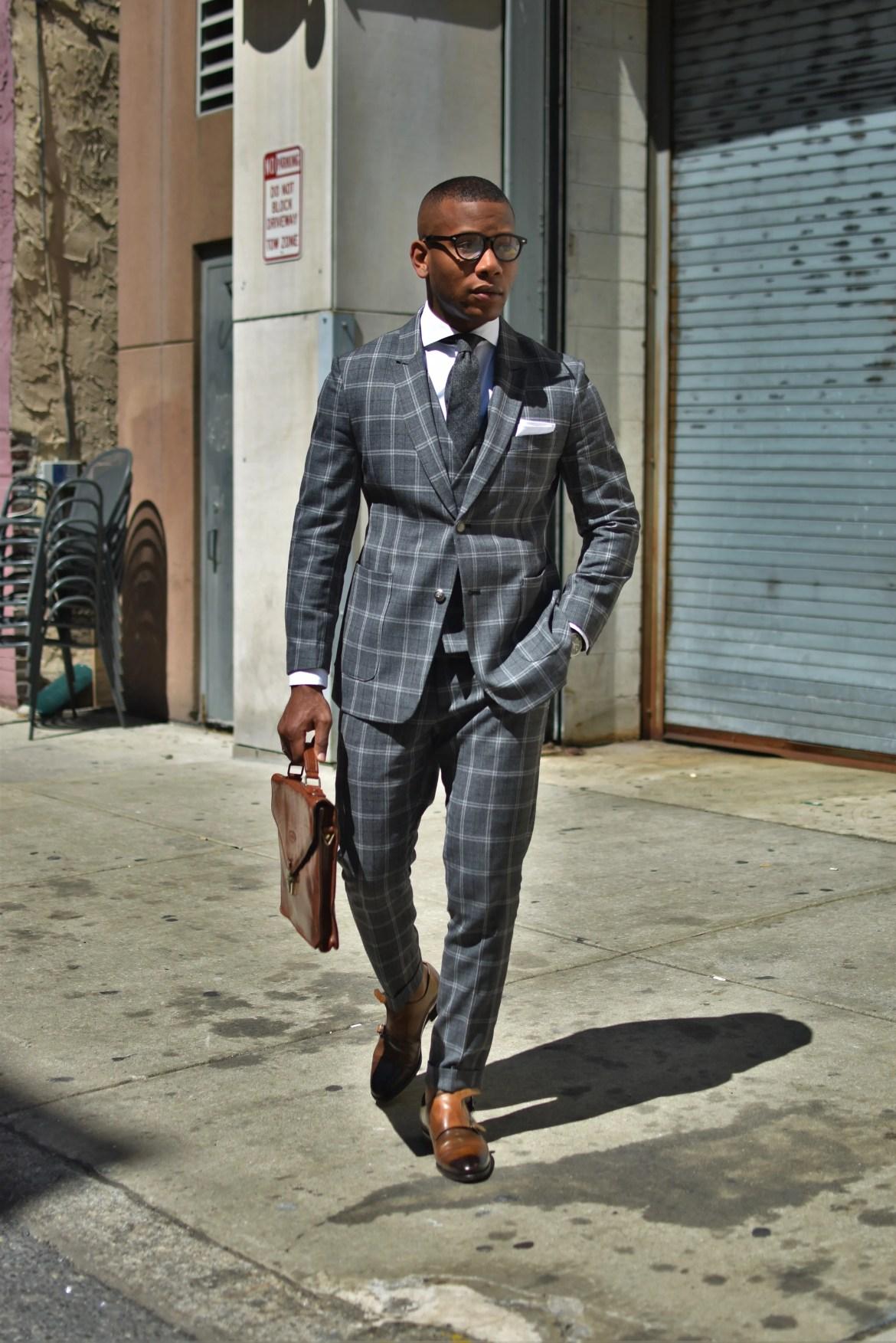 Men's Style Pro in Grey Plaid Tailor 4 Less Suit