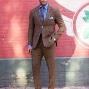Men's Brown Tweed Windowpane Suit on Sabir M. Peele of Men's Style Pro