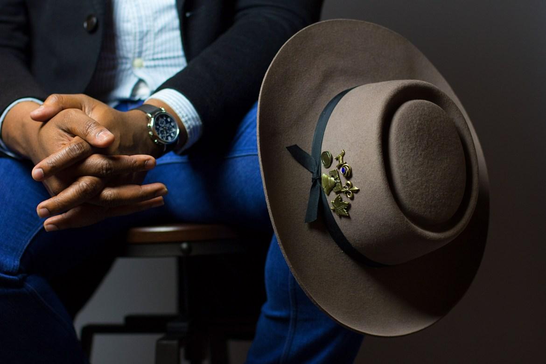 Ini Ikpe in Brimmed Hat from Goorin Bros