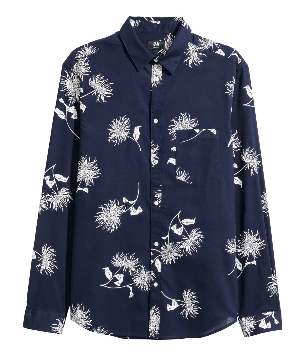 H&M Blue & White Long Sleeve Floral Shirt