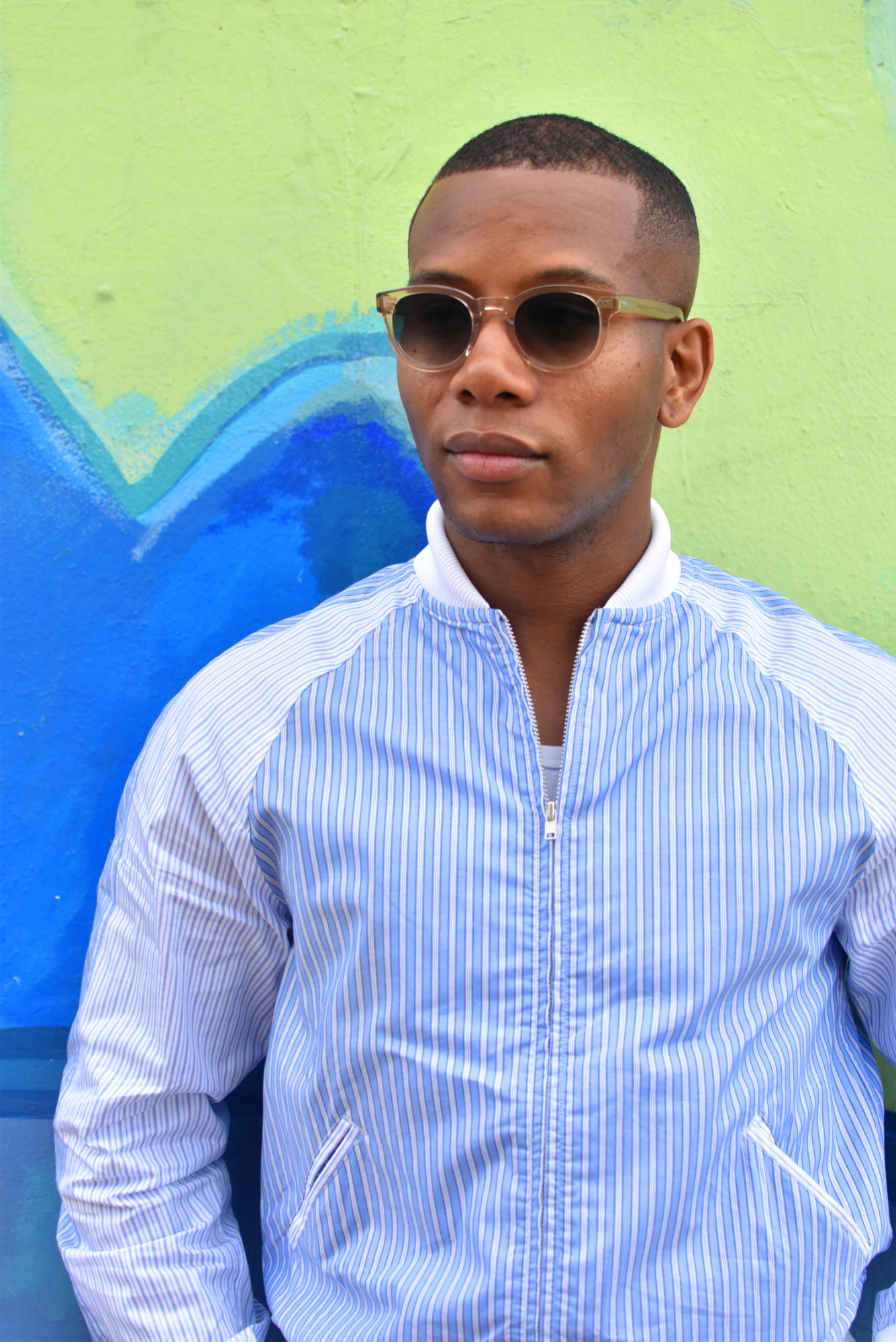Sabir M. Peele of Men's Style Pro wearing shirt bomber Comme des Garcons shirt bomber Jacket
