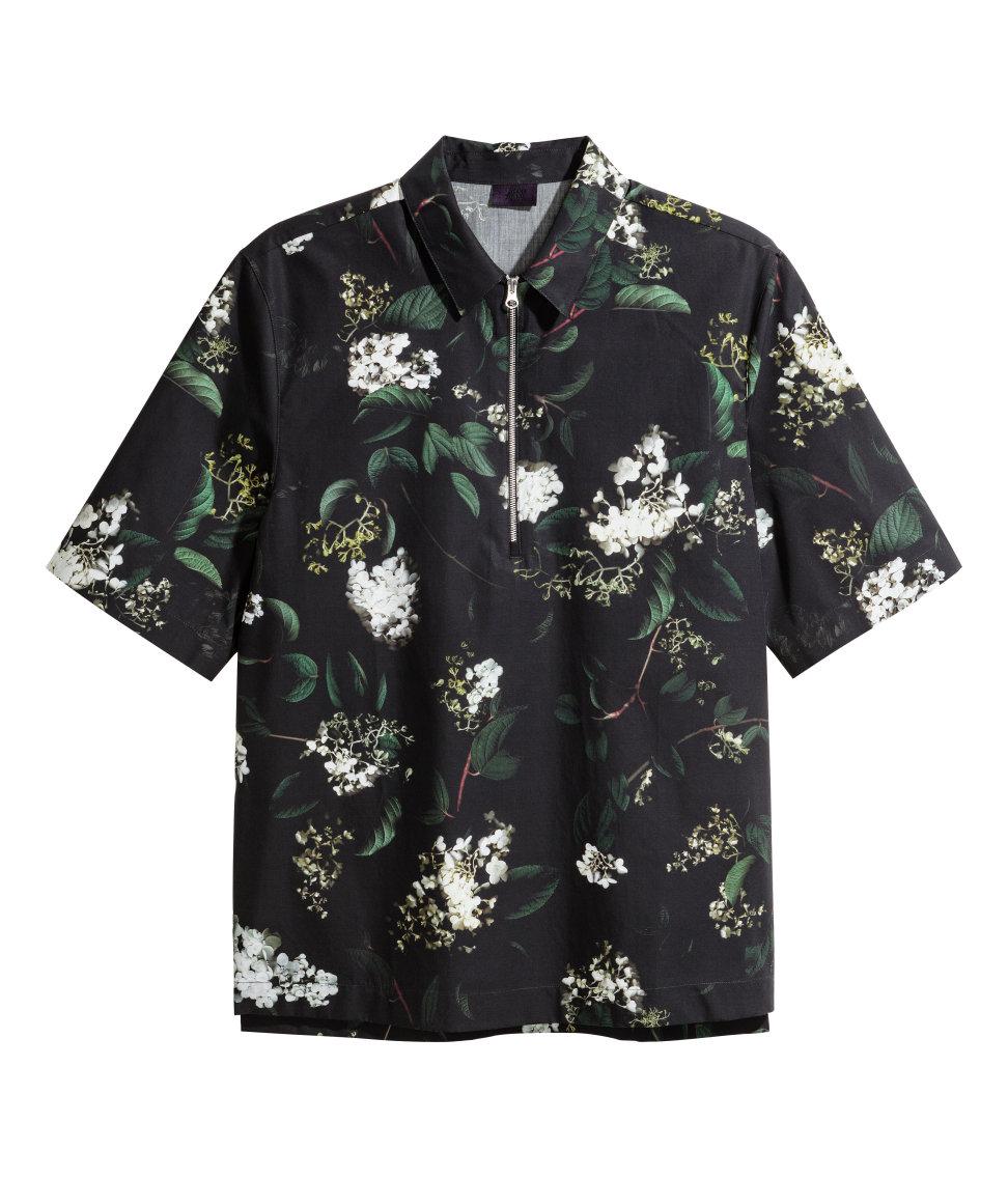 Short-sleeve half zip black floral shirt - HM