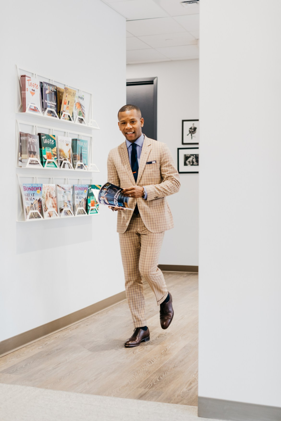 Sabir M. Peele of Men's Style Pro at Philly Mag Office wearing Lido Suit via ModaMatters