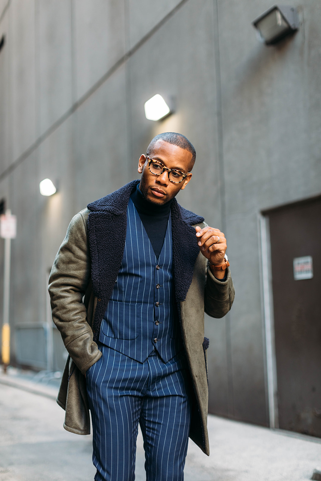 Sabir Peele of Men's Style Pro in Tallia Sherpa Coat