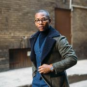 Sabir Peele of Men's Style Pro in Tallia Sherpa Coat
