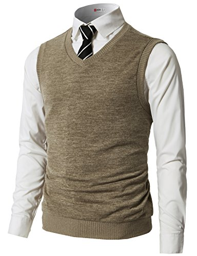 H2H Mens Casual Slim Fit Henley Neck Button Sweater Pullover Vest #CMOV043