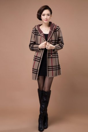 Check Pattern Cashmere Coat