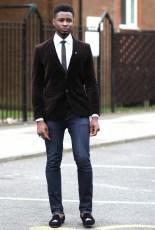 Denim jeans and velvet blazer for mens