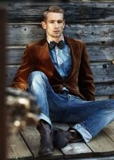 denim-jeans with velvet blazer