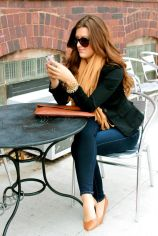 Beautiful Girl with Black Blazer and Jeans