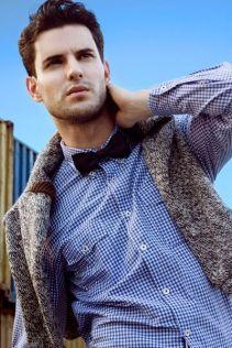 Light Blue Dress Shirt Black Bow tie