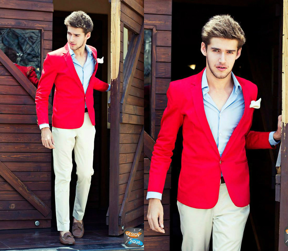 red sport coat for