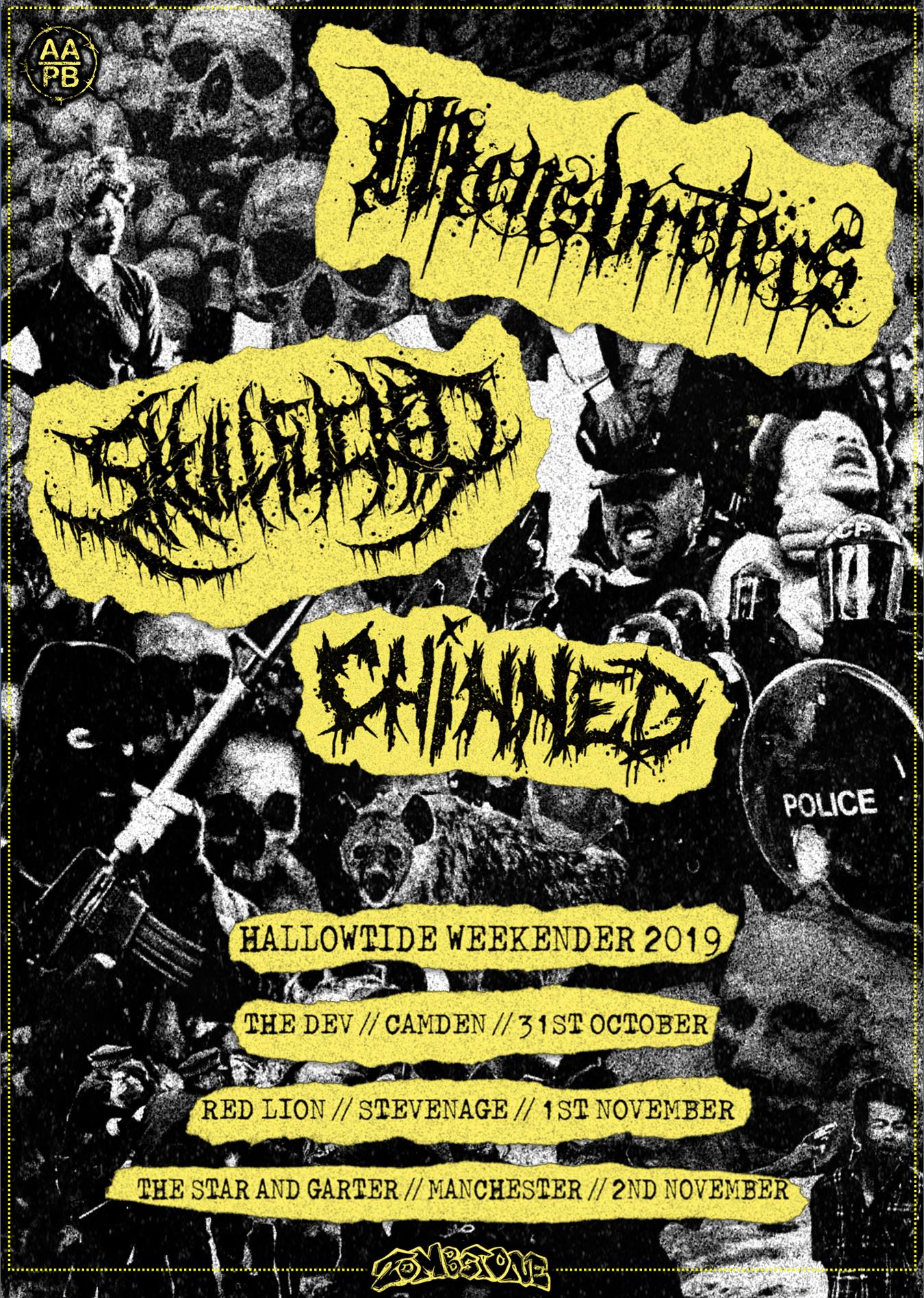 Come and get bloody with us on our UK tour with Skullfucked and Chinned.  London, Stevenage and Manchester!