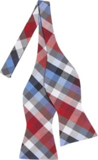 Tommy Hilfiger Red & Blue Check Self-Tie Bow Tie - Men's ...