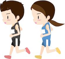 マラソンをする男女
