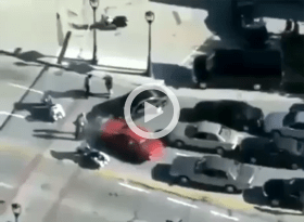 man jumps over draw bridge running away from accident