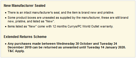 Currys eBay Lame Disclaimer