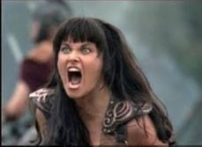 Colour image of female warrior, angry face