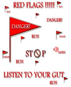 White background red images of flags and stop signs, listen to your gut - Red flags in abusive relationships
