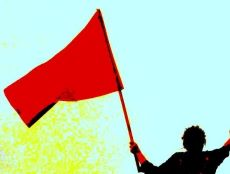 Coloured drawn image of man waving a red flag