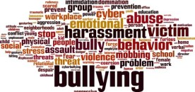 Word cloud illustration in shape of brain with text harassment, bullying, intimidation