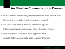 Slide talking about an effective communication process