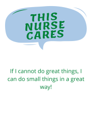 Comment bubble saying This nurse cares