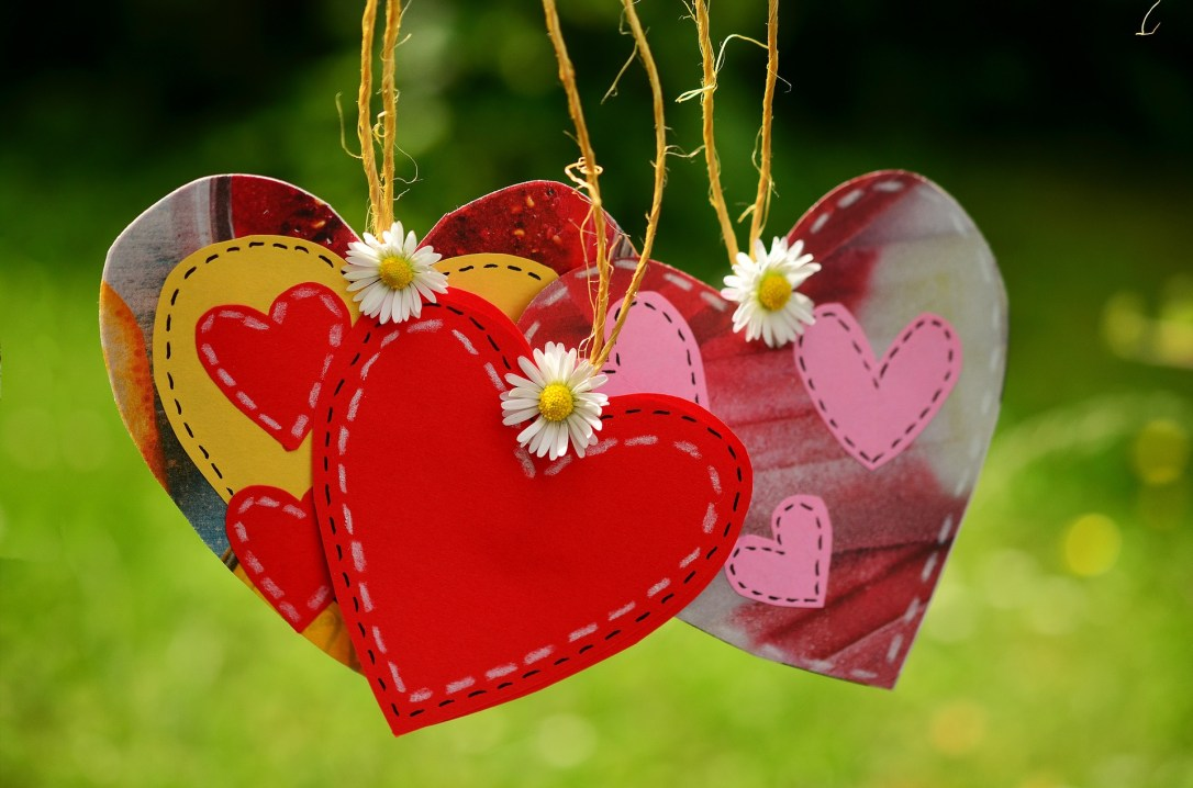 crafted hearts and flowers representing love