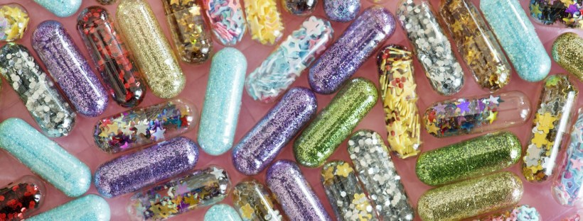 capsules filled with sparkles