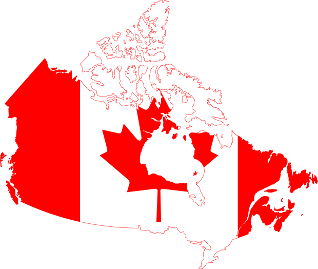 Canadian flag superimposed on map of Canada