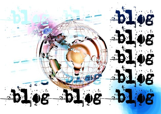 the word blog repeated around a globe