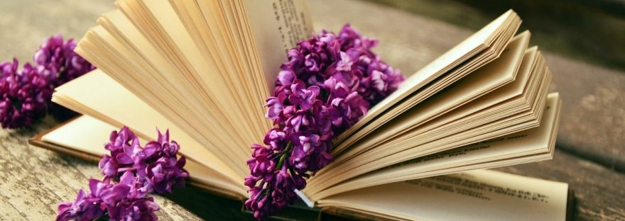 open book with lilac sprigs