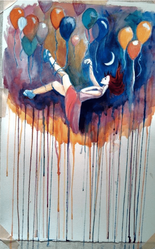 Art by Elle Rose: woman falling surrounded by ballloons